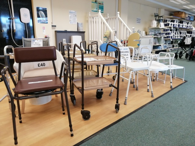 Refurbished disability aids for sale in our Carlisle shop, Disability Association Carlisle and Eden. We recycle disability aids and equipment.