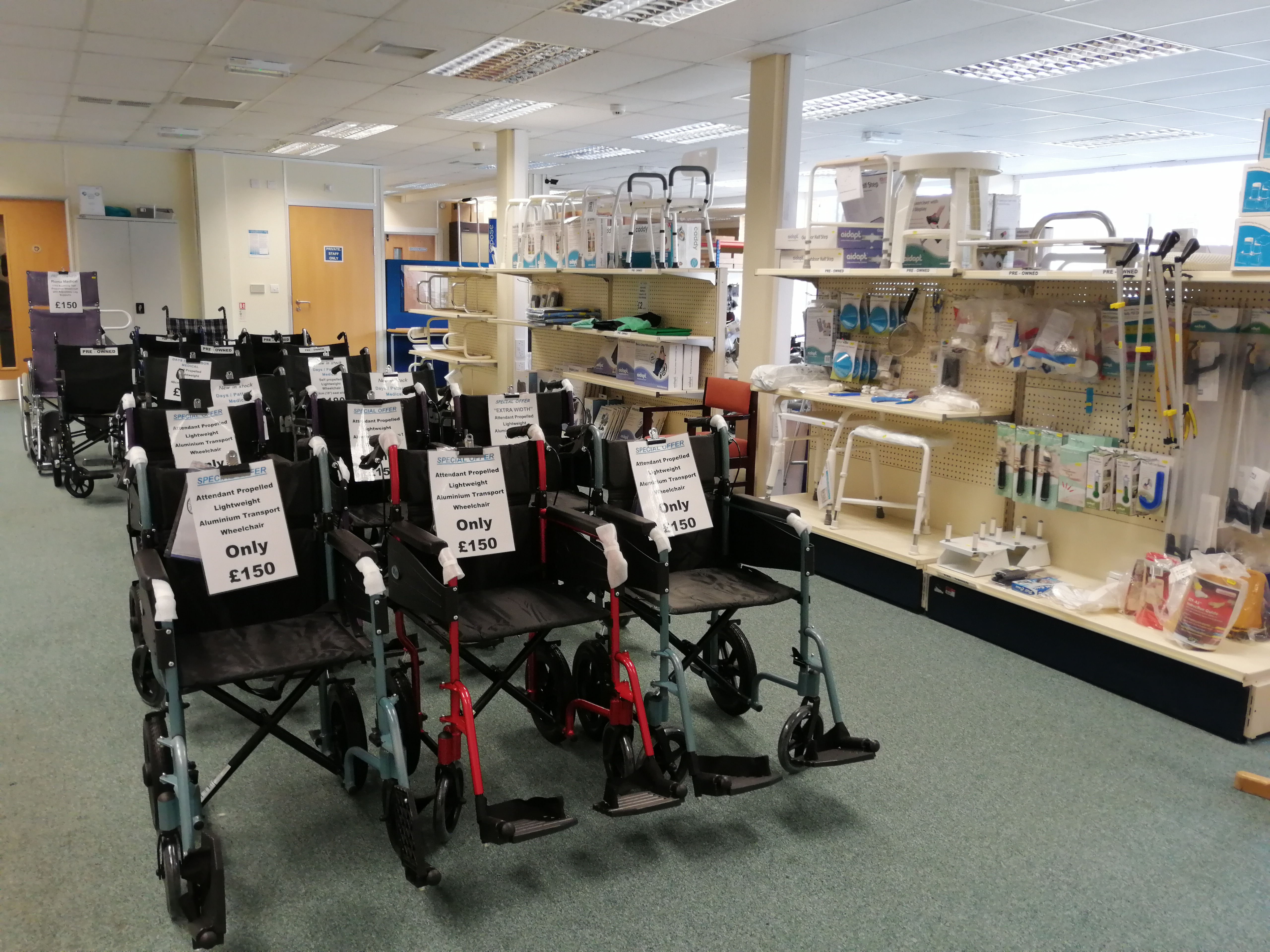 Disability aids and wheelchairs for sale from Disability Association Carlisle & Eden's shop, Carlisle.