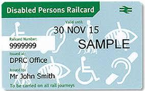 Photograph of a Disabled Pserons Railcard.